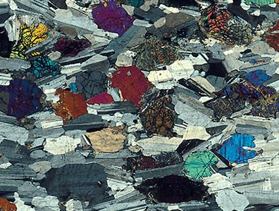 thin rock section seen through a polarising microscope various