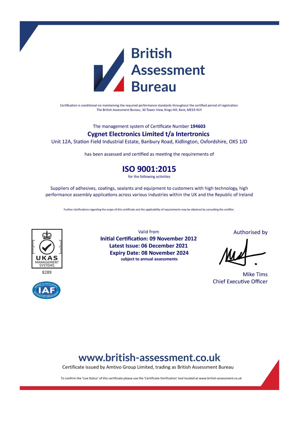 Download a copy of our certificate