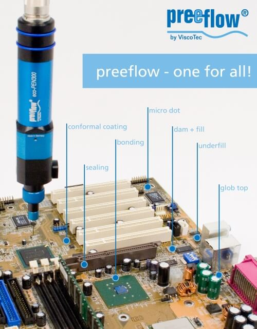 Preeflow micro-dispensing equipment from Intertronics for electronics assemblers