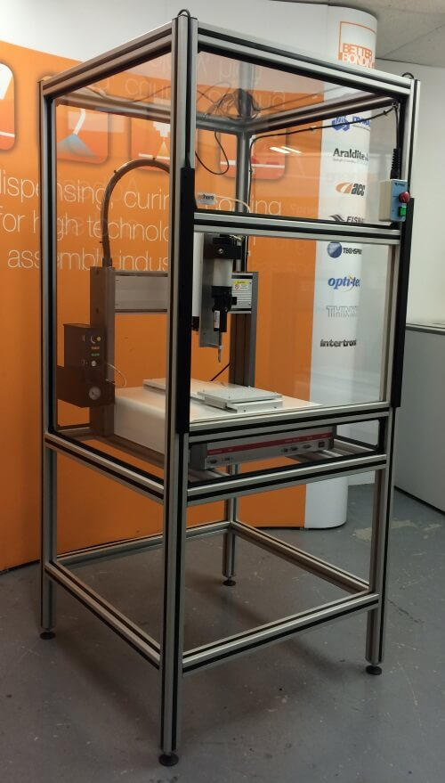 Robot workstation for dispensing two part adhesive