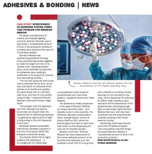 Brandon Medical success story in British Plastics and Rubber magazine, September 2015