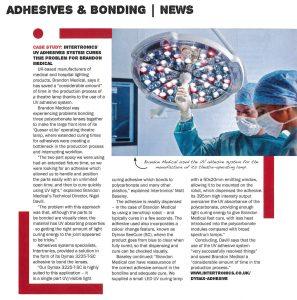 Brandon Medical success story in British Plastics and Rubber magazine, September 2015