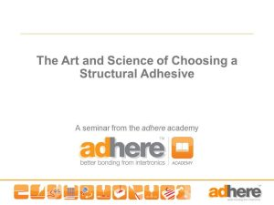 In-house Seminar - How to Choose an Adhesive