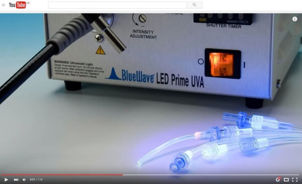 Adhesives which cure with LED curing lamps