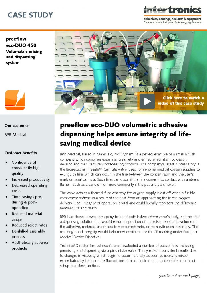 preeflow® eco-DUO volumetric adhesive dispensing helps ensure integrity of lifesaving medical device