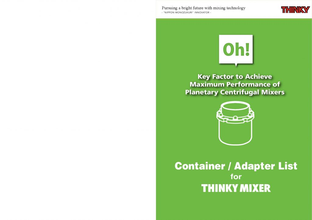 THINKY Mixer Container and Adapter List