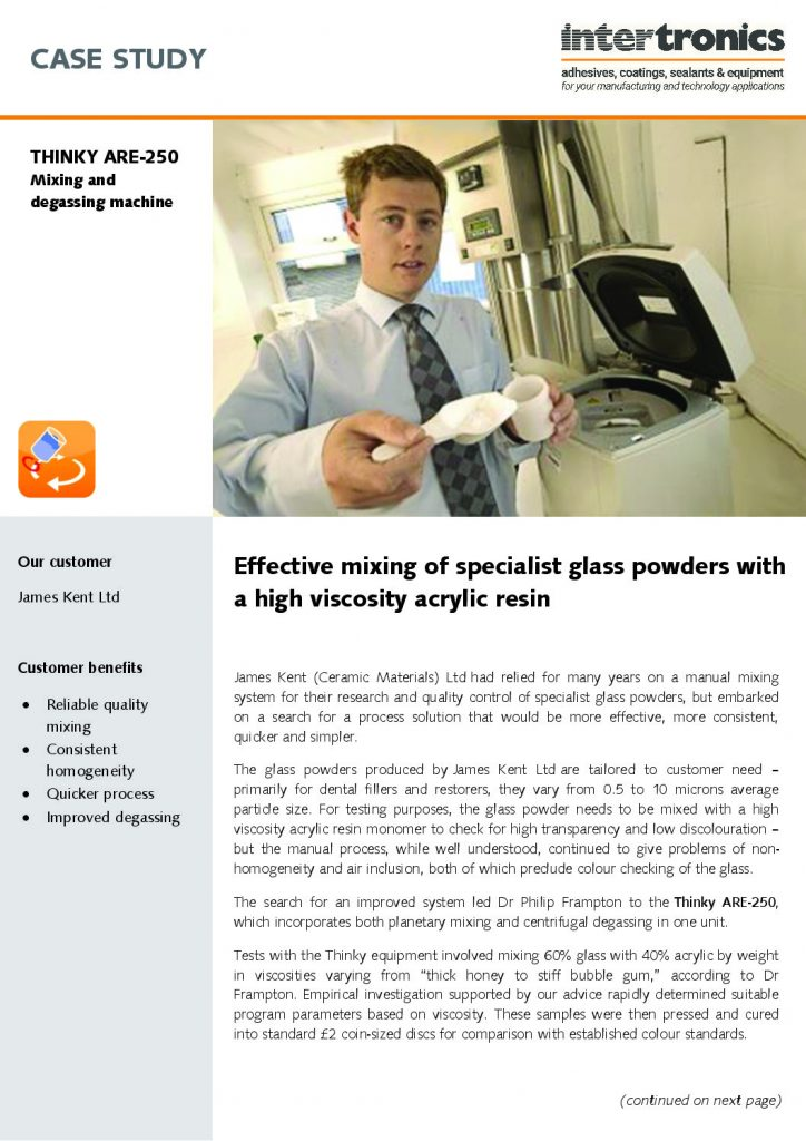 Effective mixing of specialist glass powders with a high viscosity