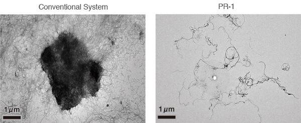 MWNT Dispersion using ultrasonic bath system vs PR-1 dual sonic system