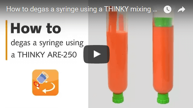 How to degas a syringe using a THINKY ARE-250 mixing and degassing machine