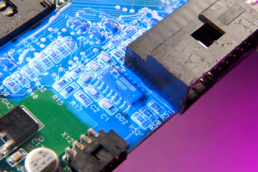 Dymax 9452-FC low viscosity conformal coating from Intertronics cures with light