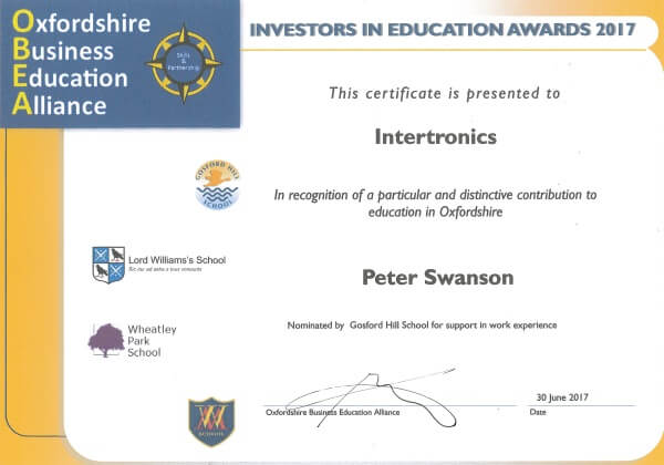 Investors in Education award for Intertronics