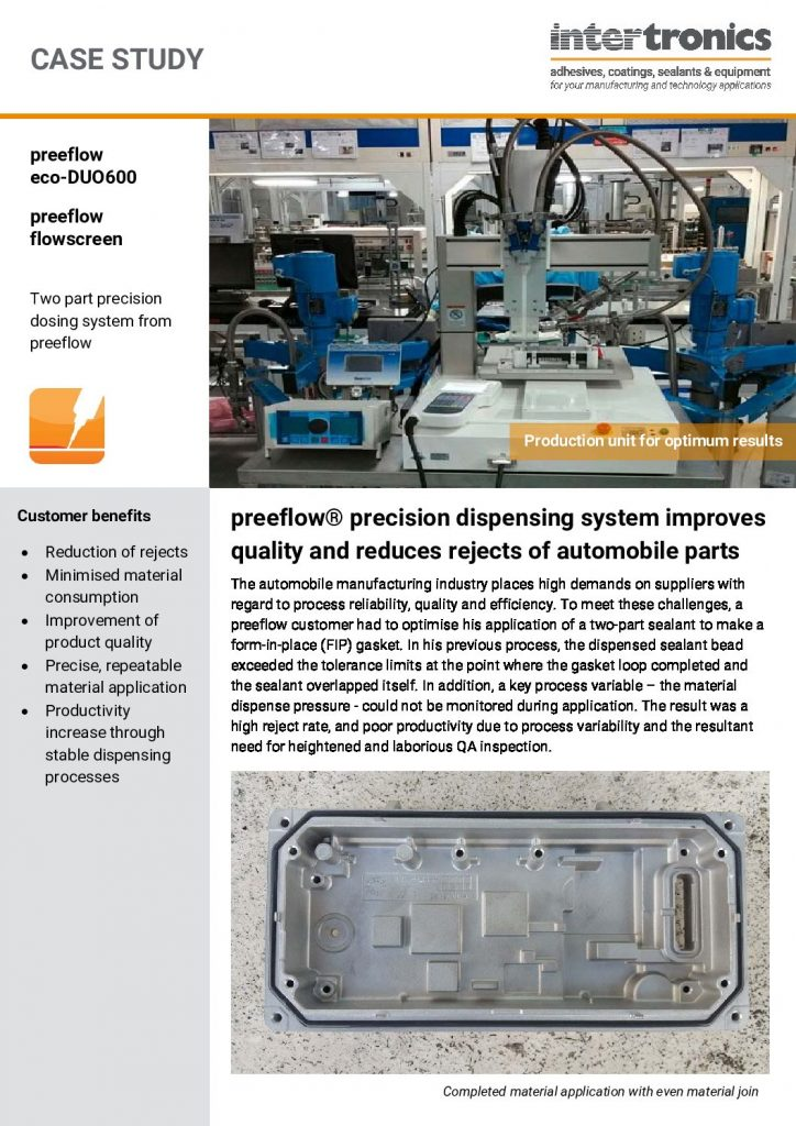 preeflow Precision Dispensing System Improves Quality and Reduces Rejects of Automobile Parts