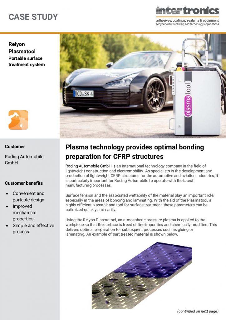 Plasma technology provides optimal bonding preparation for CFRP structures