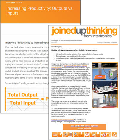 Examples of our blog and JoinedUpThinking email