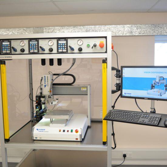 Three jetting valves robotic dispensing system