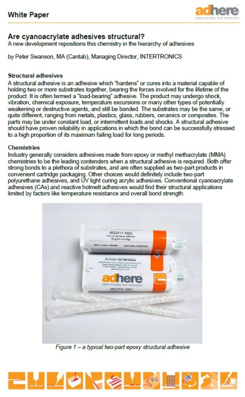 white paper - are cyanoacrylate adhesives structural